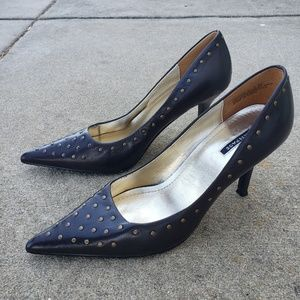 RAMPAGE Studded Pointed-Toe heels, sz 7